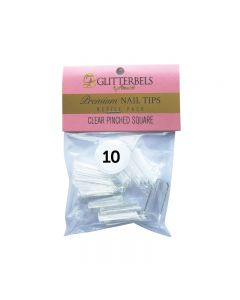 Glitterbels Clear Pinched Square Nail Tips Size 10 (x50)