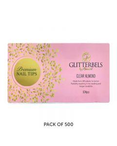 Glitterbels Clear Almond Assorted Nail Tips x 500