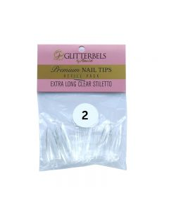 Glitterbels Extra Long Clear Stiletto Nail Tips Size 2 (x50)