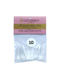 Glitterbels Extra Long Clear Stiletto Nail Tips Size 10 (x50)