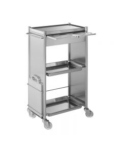 Takara Belmont D Galley Trolley With Drawer Brushed Steel