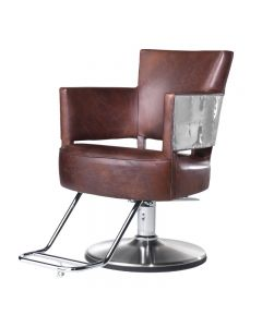 Takara Belmont Spitfire Hydraulic Chair Round Chrome Base Dark Brown Leather