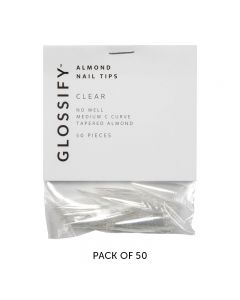 Glossify Almond Clear Nail Tips Size 1 x 50