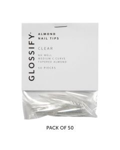 Glossify Almond Clear Nail Tips Size 7 x 50