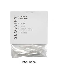 Glossify Almond Clear Nail Tips Size 8 x 50