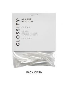 Glossify Almond Clear Nail Tips Size 9 x 50