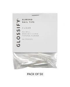 Glossify Almond Clear Nail Tips Size 10 x 50
