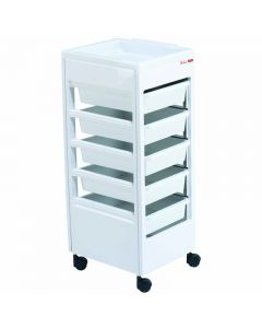 REM Studio Trolley White with Flat Top Tray