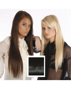Universal 18in Natural Black 1B Clip in Human Hair Extensions 105g