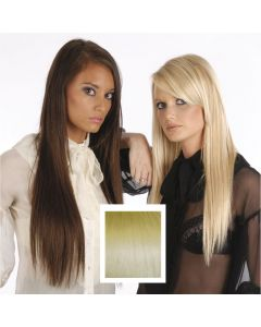 Universal 18in Light Blonde Gold Streaks P24/613 Clip in Human Hair Extensions 105g
