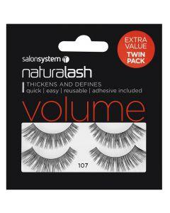 Salon System Naturalash Twin Pack Strip Eyelashes 107 Black