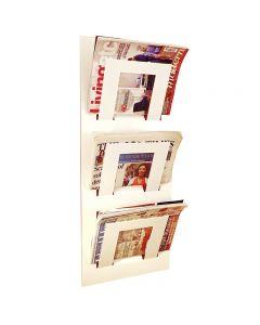 Three Tier Wall Mounted Magazine Rack White