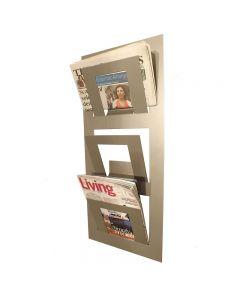 Three Tier Wall Mounted Magazine Rack Metallic Silver