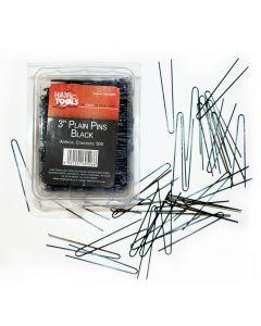 """Hair Tools Plain Pins 3"""" Black x 500"""