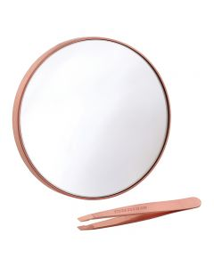 Tweezerman Rose Gold Mini Slant Tweezer & 10x Mirror Duo