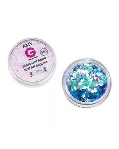 Amy G Iridescent Aqua Nail Art Sequins 0.5g by The Edge