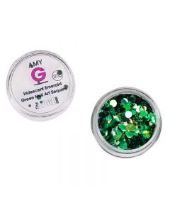 Amy G Iridescent Emerald Green Nail Art Sequins 0.5g by The Edge