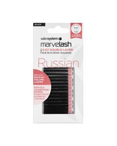 Marvelash Russian Lashes 0.07 Double Layer Assorted Lengths Black x 11000 by Salon System
