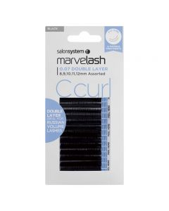 Marvelash C Curl Lashes 0.07 Double Layer Assorted Lengths Black x 8000 by Salon System