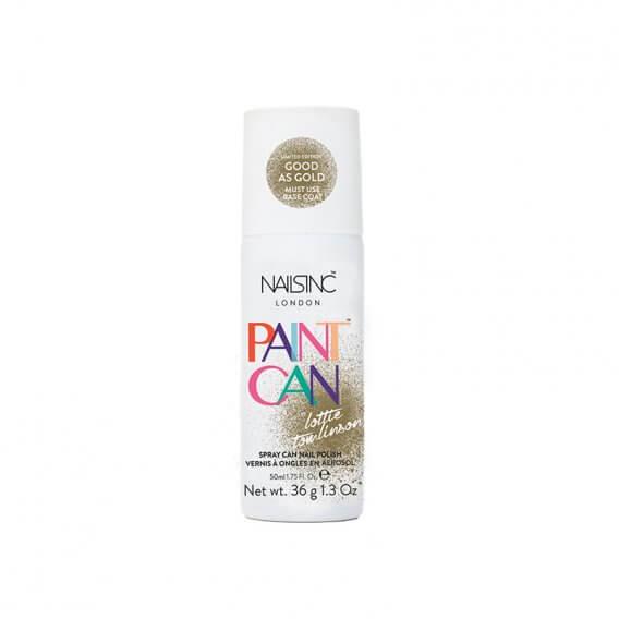 Nails Inc Paint Can Spray On Nail Polish Good as Gold 50ml