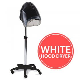 REM Elan Next Generation White Mobile Hood Dryer with Pole + Base