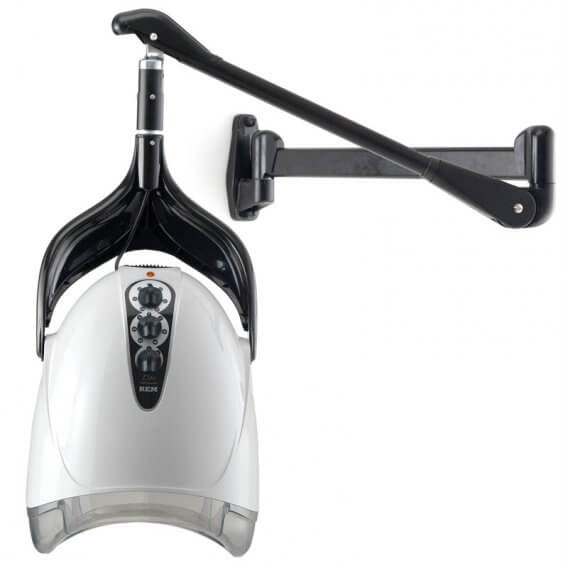 REM Elite Next Generation White Hood Dryer With Wall Arm