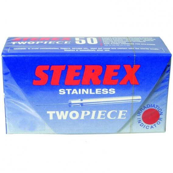 Sterex Stainless Steel Two Piece Needles F3S - Box of 10