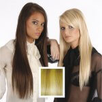 Universal 18in Light Blonde & Honey Streaks P27/613 Clip in Human Hair Extensions 105g