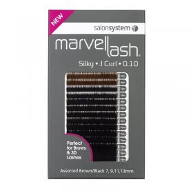 Marvel-Lash Silky Lashes J Curl x 2960 Assorted Sizes and Colour Black/Brown by Salon System