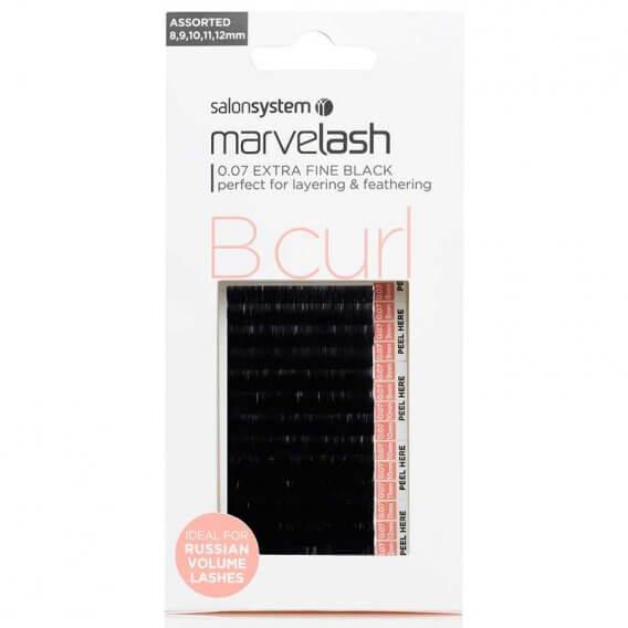 Marvelash B Curl Lashes 0.05 Ultra Fine Assorted Lengths Black x 9000 by Salon System