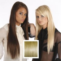 Universal 18in Chocolate Brown/Strawberry Blonde M4/27 Clip in Human Hair Extensions 105g