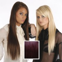 Universal 18in Plum/Red Brown FBW/32 Clip in Human Hair Extensions 105g
