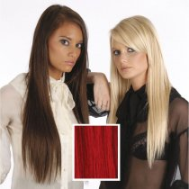 Universal 18in Vibrant Red 39J Clip in Human Hair Extensions 105g