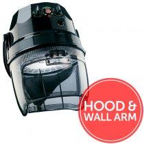 Ceriotti Diamante 3000 2 Speed Hood Dryer + Wall Arm Black
