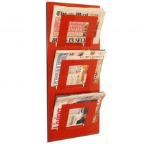 Three Tier Wall Mounted Magazine Rack Red