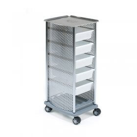 REM Domino Ultra Chrome Top/Frame + White Trays Trolley